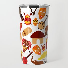 Colorful African animals and symbols pattern Travel Mug