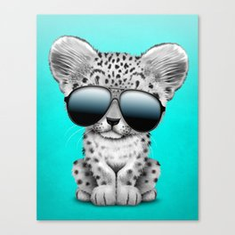 Cute Baby Snow leopard Wearing Sunglasses Canvas Print