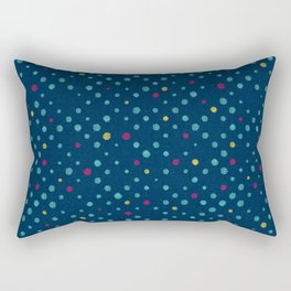 LOTS OF DOTS / prussian blue / turquoise green / deep red / yellow Rectangular Pillow