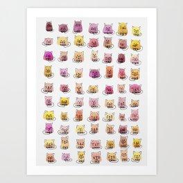 70 moods of cats Art Print
