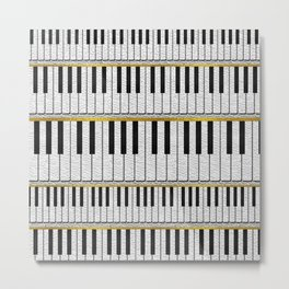 White Leather Piano Keys pattern with golden lines Metal Print