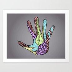 Doodle Hand (color) Art Print