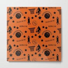 Slam Dunk Basketball Orange and Black Metal Print