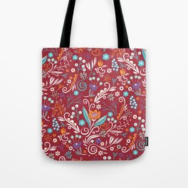 Flower circle pattern, red Tote Bag
