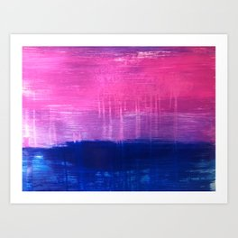 Bisexual Flag: abstract acrylic piece in pink, purple, and blue #pridemonth Art Print