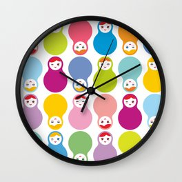 dolls matryoshka on white background Wall Clock