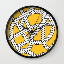 Nautical Yellow Rope Pattern Repeat Wall Clock