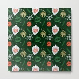 Retro Christmas Ornaments / Festive Holiday Tree / Snowflake / Mid Century Modern / Tree / Santa Metal Print