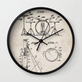 Drum Set Patent - Drummer Art - Antique Wall Clock