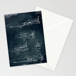 Space separated ship Stationery Cards