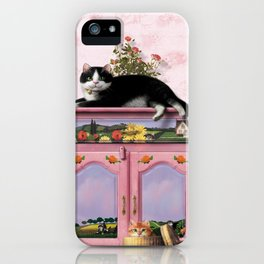 """Mosky Cat """"Flowers"""" iPhone Case"""