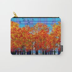 Fall Leaves On Plaid Carry-All Pouch