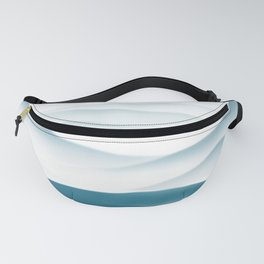 A lonely fisherman in a single boat travels in the great river accompany by the birds Fanny Pack