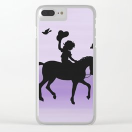 Girl and horse silhouette lavender Clear iPhone Case