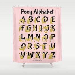 Pony Alphabet Chart, Pink Shower Curtain