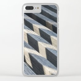 Play of light and shadow on wooden slats Clear iPhone Case