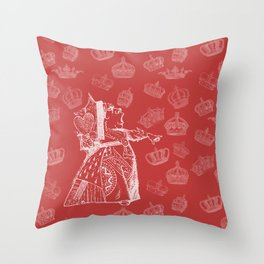 Queen of Hearts and Crowns Throw Pillow