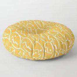 faces (mustard) Floor Pillow