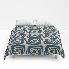 Mid Century Modern Galaxy Pattern Peacock Blue and Beige Comforters