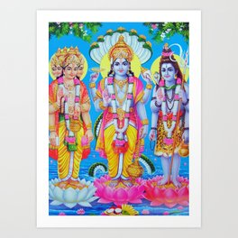 Hindu Gods Poster Print Trinity Brahma Vishnu Shiva Yoga Buddism Art India Art Print