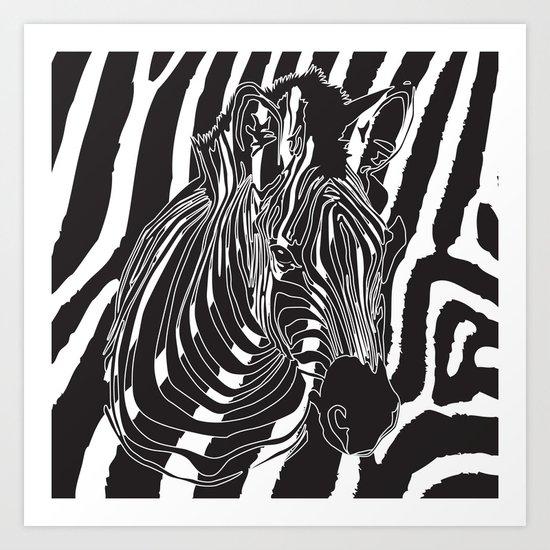 Zebra - Optical Art 5 Art Print
