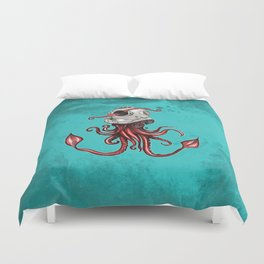 Squid with Diving Helmet Duvet Cover