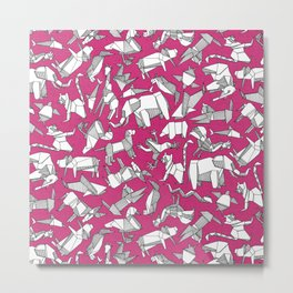 origami animal ditsy pink Metal Print