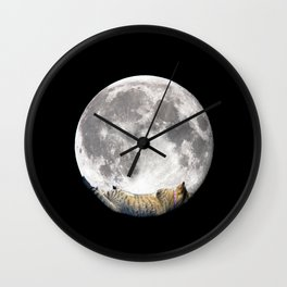 Sleeping cat with the Moon Wall Clock