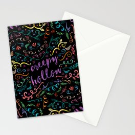 Creepy Hollow - color on black Stationery Cards