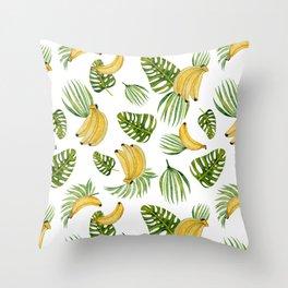 Tropical green yellow leaves fruity banana watercolor Throw Pillow