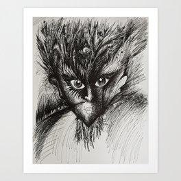 Owl Girl Eyes Art Print