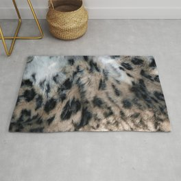 Snow Leopard Fur Abstract Rug
