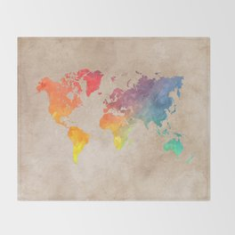 World Map Maps #map #maps #world Throw Blanket