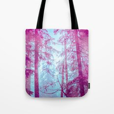 Nature Trees - Magical Pink and Blue Woods Tote Bag