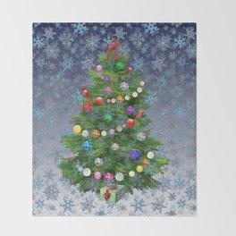 Christmas tree & snow v.2 Throw Blanket
