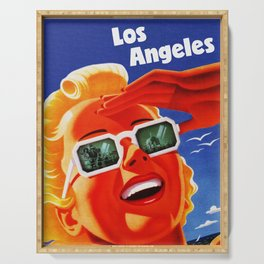 Retro Los Angeles California Travel Poster Serving Tray