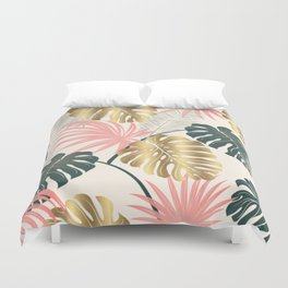 Tropical Print with Gold Duvet Cover