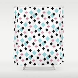 Jeweltoned Diamond Geometric Shower Curtain