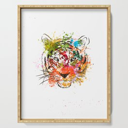 creative color ink splash tiger avatar Serving Tray