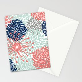 Floral Print - Coral Pink, Pale Aqua Blue, Gray, Navy Stationery Cards