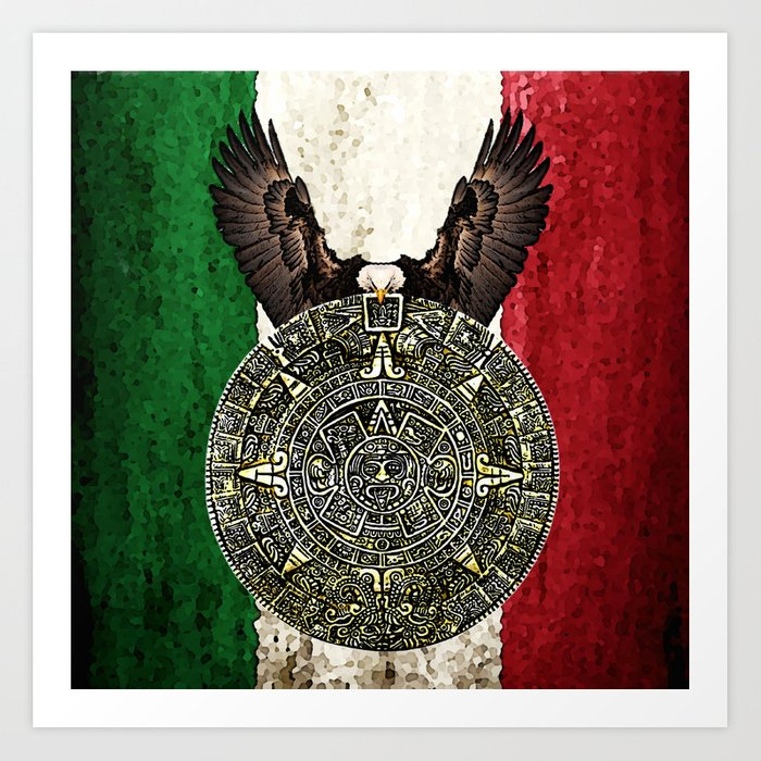 Mexican Eagle Aztec Calendar Flag Art Print By