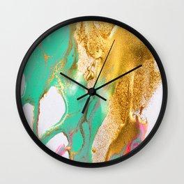 beautiful abstract art with fluid liquid paint Wall Clock