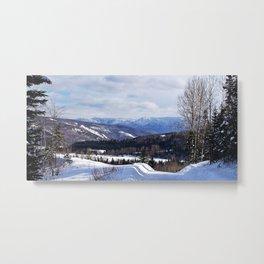 Mountain Winter Road Metal Print