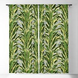 Palms on Stitch Pattern - Blue White Gold Blackout Curtain