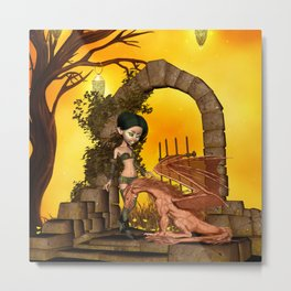 Cute fairy with dragon Metal Print