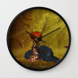 Cute little fairy with wolf Wall Clock