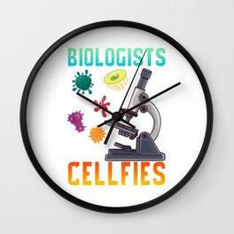 Cute Biologists Take Cellfies Selfies Biology Pun Wall Clock