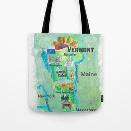 USA Vermont State Travel Poster Map with Touristic Highlights Tote Bag