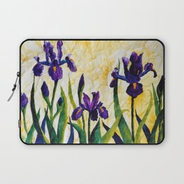 Watercolor Wild Iris on Wrinkled Paper Laptop Sleeve