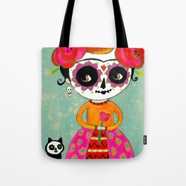 Day Of The Dead Frida with Black Cat Tote Bag